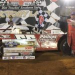 Jake Knowles in victory lane at the Talladega Short Track on Friday night. (Jake Knowles Racing Photo)