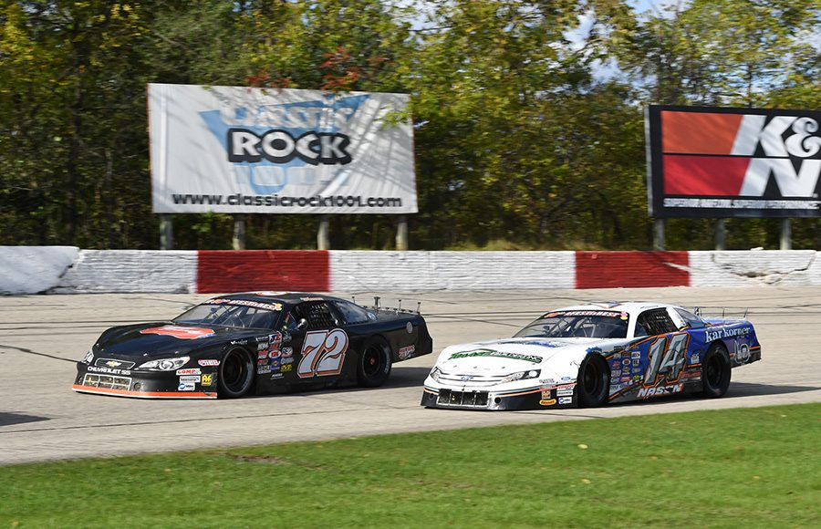 Jacob Goede (72) races Austin Nason during last Sunday's Oktoberfest 200 feature at LaCrosse Fairgrounds Speedway. (Doug Hornickel Photo)