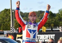 Ty Majeski celebrates in victory lane after winning last Sunday's Oktoberfest 200 feature at LaCrosse Fairgrounds Speedway. (Doug Hornickel Photo)