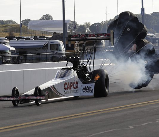 Steve Torrence locked up the No. 1 position in Top Fuel qualifying Saturday at zMAX Dragway. (HHP/Harold Hinson Photo)
