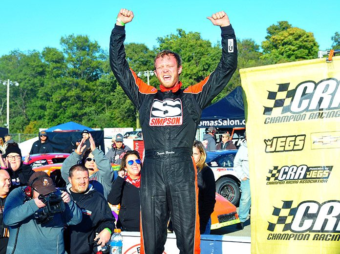 Travis Braden celebrates after winning Saturday's JEGS/CRA All-Stars Tour feature at Winchester Speedway. (Randy Crist Photo)