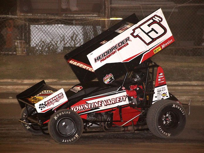 Sam Hafertepe Jr. was unbeatable Saturday at Creek County Speedway. (Richard Bales Photo)