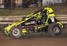 Craig Carroll on his way to victory Saturday night at Creek County Speedway. (Richard Bales Photo)