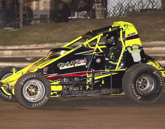 Craig Carroll on his way to victory Saturday night at Creek County Speedway. (Richard Bales Photo)