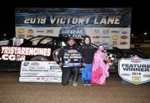 Ryan Gustin in victory lane Saturday at Lucas Oil Speedway. (Lloyd Collins Photo)