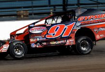 Billy Decker won Saturday's Salute to the Troops 100 for 358 modifieds at Oswego Speedway. (Dave Dalesandro Photo)