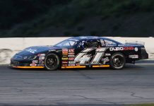 Jonathan Bouvrette went the distance in Saturday's American-Canadian Tour feature at Thompson Speedway Motorsports Park. (Daniel Holben photo)