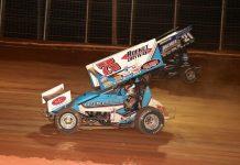 Chase Dietz (75) races under Brian Montieth at BAPS Motor Speedway. (Dan Demarco photo)