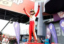 Scott McLaughlin celebrates after winning Sunday's Bathurst 1000 in Australia. (Supercars Photo)