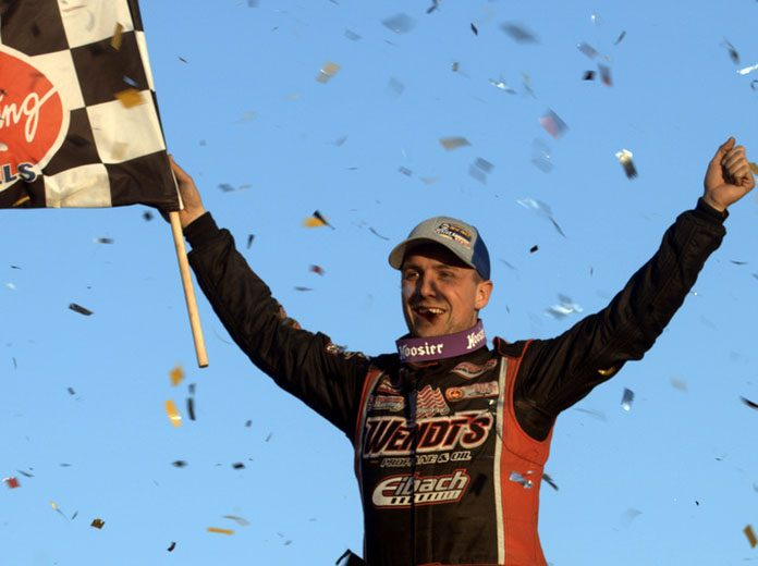 Mat Williamson celebrates after winning the Billy Whittaker Cars 200 Sunday at Oswego Speedway. (Dave Dalesandro Photo)