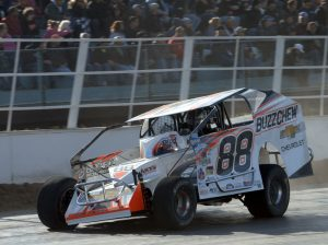 Mat Williamson on his way to victory Sunday at Oswego Speedway. (Dave Dalesandro Photo)