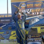 Kyle Inman in victory lane after winning the Sportsman feature at Oswego Speedway. (Dave Dalesandro Photo)