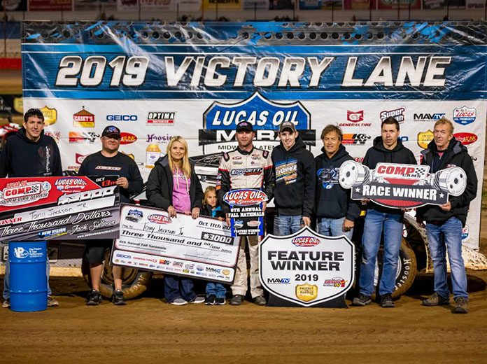 Tony Jackson Jr. won the MLRA Fall Nationals finale on Sunday at Lucas Oil Speedway. (Kenny Shaw Photo)