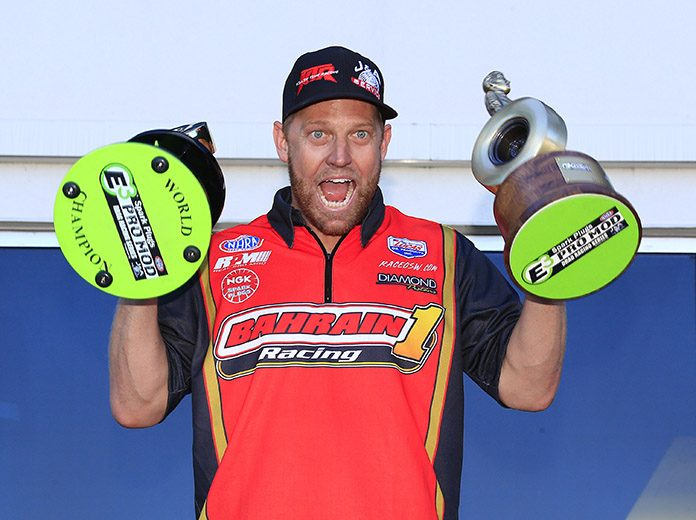 Stevie Jackson claimed the championship and the win in Monday's E3 Spark Plugs NHRA Pro Mod Drag Racing Series race at zMAX Dragway. (HHP/Jim Fluharty Photo)
