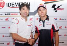 Honda has extended the contract of LCR Honda MotoGP rider Takaaki Nakagami (right) through the 2020 season. (Honda Photo)