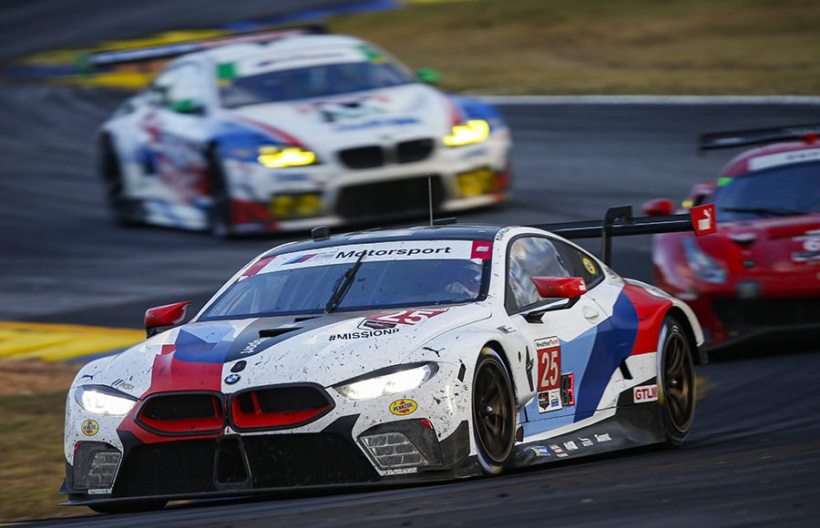 The No. 25 BMW Team RLL BMW M8 GTE of Tom Blomqvist, Connor De Phillippi and Colton Herta during Saturday's Petit Le Mans. (IMSA Photo)