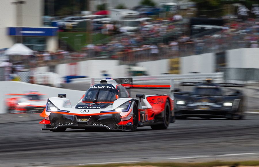 The No. 7 Acura DPi shared by Helio Castroneves, Ricky Taylor and Graham Rahal on track Saturday during the Petit Le Mans. (Sarah Weeks Photo)