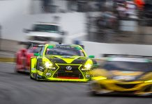 The No. 12 AIM Vasser Sullivan Lexus races through the field Saturday during the Petit Le Mans. (Sarah Weeks Photo)