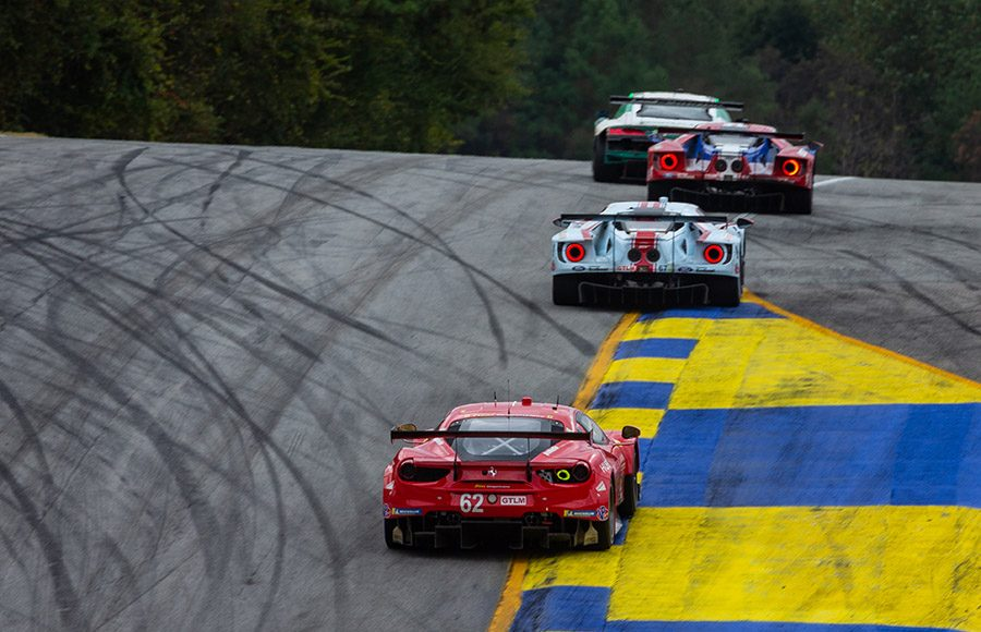 GT entries head towards the top of a hill during Saturday's Petit Le Mans at Michelin Raceway Road Atlanta. (Sarah Weeks Photo)