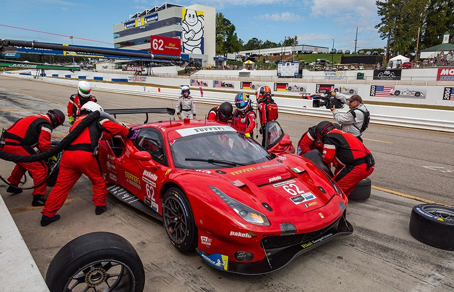 The No. 62 Risi Competizione Ferrari 488 GTE makes a pit stop during Saturday's Petit Le Mans. (Sarah Weeks Photo)
