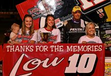 The Blaney family, including Dale Blaney, at Sharon Speedway after the Lou Blaney Memorial. (Joe Secka/JMS Pro Photo)