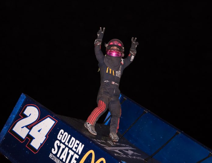 Rico Abreu in victory lane on night one of the Trophy Cup. (Devin Mayo photo)