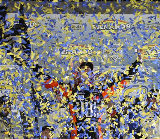 Christian Eckes celebrates after claiming the ARCA Menards Series championship Friday at Kansas Speedway. (ARCA Photo)