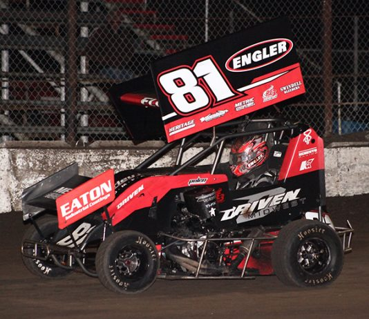 Frank Flud picked up two Lucas Oil National Open Wheel 600 Series on Friday at Caney Valley Speedway. (Richard Bales Photo)