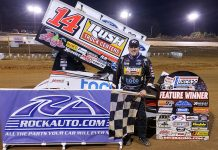 Tony Stewart collected his fifth USCS victory of the season Friday in Louisana. (USCS Photo)