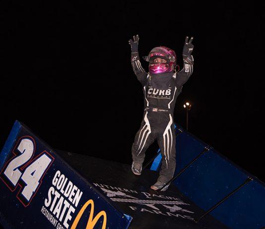 Rico Abreu celebrates another victory at Thunderbowl Raceway on Friday night. (Devin Mayo Photo)