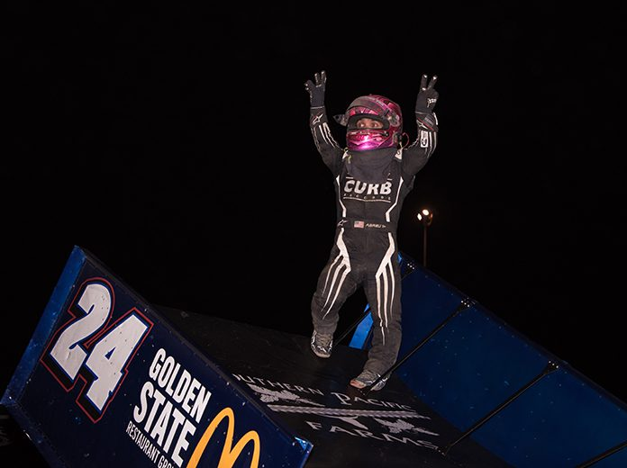 Rico Abreu celebrates another victory at Thunderbowl Raceway on Friday night. (Devin Mayo Photo)