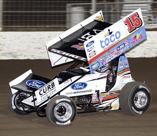 Donny Schatz, shown here earlier this year at Dodge City Raceway Park, gave Ford it's first World of Outlaws win since 1998 on Friday. (Jeff Peck Photo)