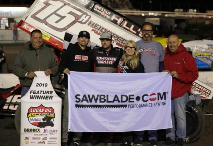 Sam Hafertepe Jr. in victory lane at Devil's Bowl Speedway. (ASCS photo)