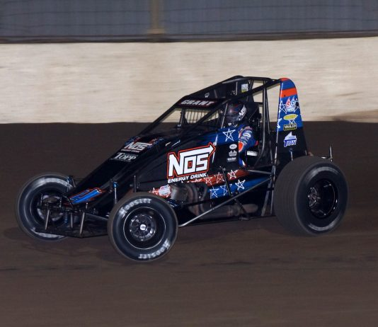 Justin Grant en route to victory at Kokomo Speedway. (Gary Gasper photo)