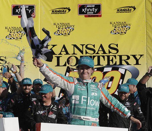 Brandon Jones earned his first NASCAR Xfinity Series triumph on Saturday at Kansas Speedway. (HHP/Harold Hinson Photo)