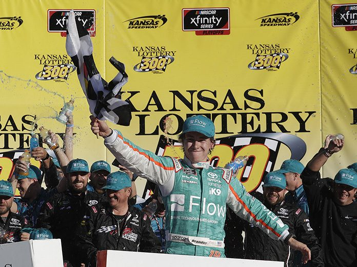 Brandon Jones earned his first NASCAR Xfinity Series triumph on Saturday at Kansas Speedway. (HHP/Harold Hinson Photo)