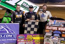 Mark Smith (center) shares the podium with Tony Stewart and Dale Howard. (USCS photo)