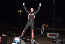 Kyle Cummins in victory lane at Tri-State Speedway. (David Nearpass photo)