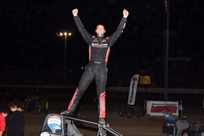 Kyle Cummins in victory lane at Tri-State Speedway. (David Nearpass photo)