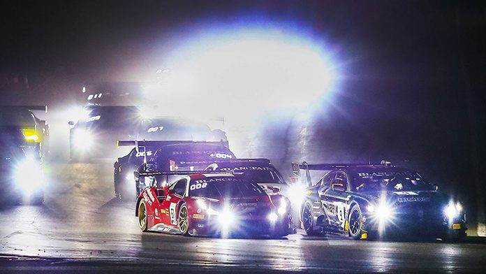 K-PAX Racing's No. 9 entry, shared by Andy Soucek and Alvaro Parente, swept a pair of Blancpain GT World Challenge America events Saturday at Las Vegas Motor Speedway.