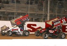 T.J. Stutts (11) chases Danny Dietrich Saturday night at Port Royal Speedway. (Dan Demarco Photo)
