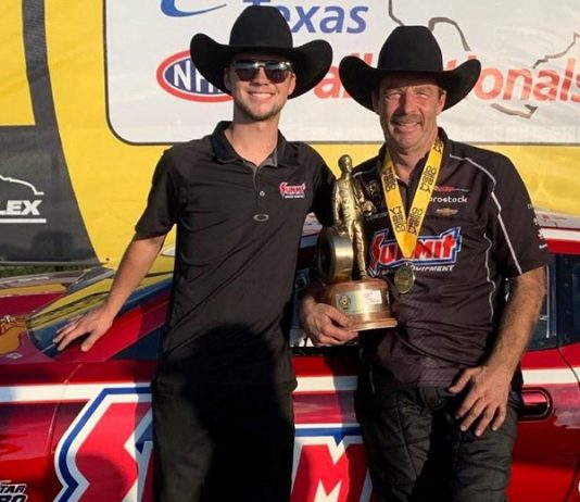 NHRA Pro Stock racer Greg Anderson (right) with his son, Cody Anderson.