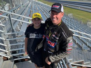 NHRA Pro Stock competitor Jason Line (right) with his son, Jack.
