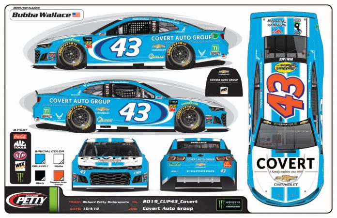Covert Auto Group will sponsor Bubba Wallace and Richard Petty Motorsports at Texas Motor Speedway in November.