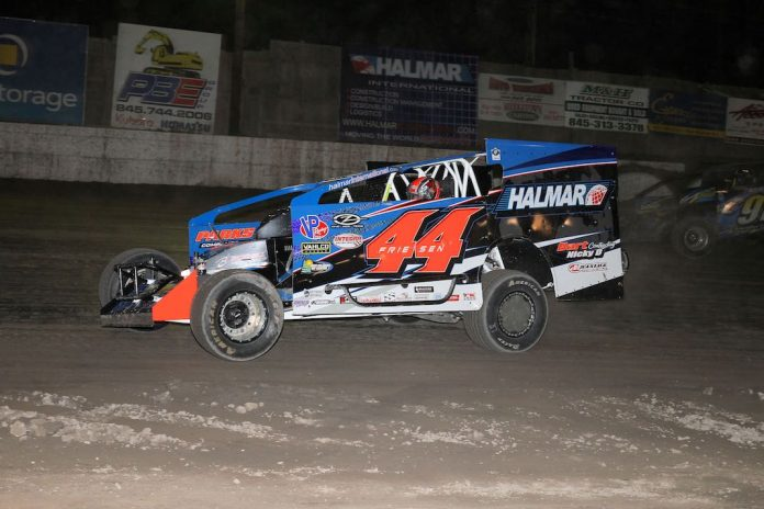 Stewart Friesen en route to victory Thursday night at Orange County Fair Speedway. (Dan Demarco photo)