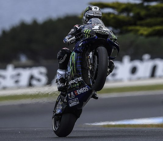 Maverick Vinales was fastest in MotoGP practice Friday in Australia. (Yamaha Photo)
