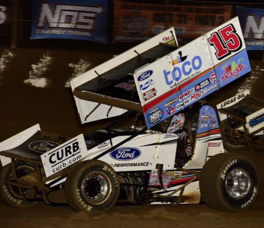 Donny Schatz, shown earlier this month, won Friday's World of Outlaws feature at Port Royal Speedway. (Mark Funderburk photo)