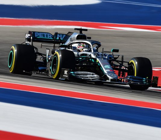 Lewis Hamilton set the pace on the opening day of Formula One practice Friday at Circuit of the Americas. (Mercedes Photo)