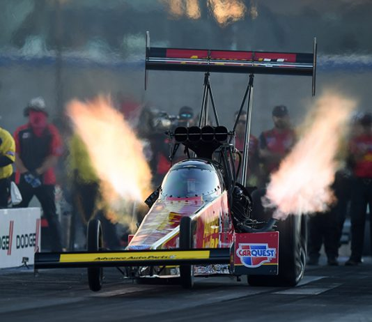 Brittany Force reset the NHRA Top Fuel speed record Friday in Las Vegas. (NHRA Photo)