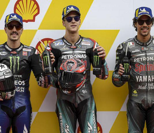 Fabio Quartararo (center) bested Maverick Vinales (left) and Franco Morbidelli (right) to earn the MotoGP pole at Sepang Int'l Circuit. (Yamaha Photo)